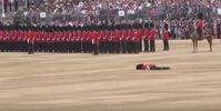 """Bild: Screenshot Youtube Video """"Guardsman carried off in stretcher after collapsing at ceremony"""""""