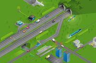 Siemens erprobt neue Technologien zur Verkehrssteuerung. Grundprinzip ist die Kooperation aller Verkehrsteilnehmer, egal ob Fahrzeuge, Fußgänger oder der Schienenverkehr. Sie tauschen Informationen miteinander, aber auch mit Infrastrukturelementen wie Lichtsignalanlagen (Ampeln etc.) oder Verkehrszeichen aus – in Echtzeit und bei hohen Geschwindigkeiten. Kürzlich wurde beim ITS-Weltkongress in Wien dazu das Testfeld Telematik vorgestellt. Das Bild zeigt eine Infografik des österreichischen Autobahnbetreibers ASFINAG. Bild: ASFINAG