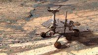 Opportunity im Endurance-Krater, künstlich generiertes fotorealistisches Bild
