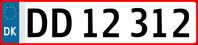 Aktuelles Kfz-Kennzeichen aus Dänemark mit EU-Symbol