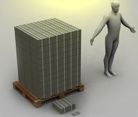 Größenvergleich: Das sind 100 Millionen in 100 Euro Scheinen. Vor der Europallette liegt eine Million.