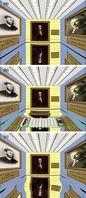 Oben: Raum mit verspiegeltem Boden; Mitte: der Raum mit zentraler Erhöhung; Unten: Unsichtbarkeitsteppich lässt Erhebung verschwinden, doch hinterlässt verräterische Spuren. Bild: Optics Express