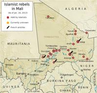 Lage am 18. Januar 2013: Die drei Regionen Timbuktu, Kidal und Gao bilden den als Azawad bezeichneten nördlichen Teil von Mali, der von Islamisten als eigenständiges Territorium beansprucht