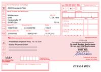 Muster 16: Formular für Arzneimittelverordnungen (deutsches Krankenkassenrezept)
