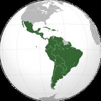 Lateinamerika gemäß einer erweiterten Definition: inklusive der französischsprachigen Länder Französisch-Guayana und Haiti.