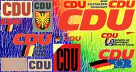 CDU Logos: Erkennbar - die BRD-Flagge wird mit der Zeit immer bedeutungsloser neben der Flagge der Europäischen Union.