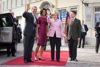 Angela Merkel mit US-Präsident Barack Obama, dessen Frau sowie Joachim Sauer beim Staatsempfang in Baden-Baden, 3.April 2009