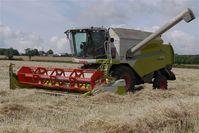 A combine harvester on an English farm