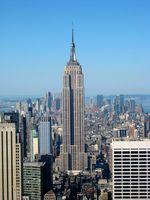 Das Empire State Building vom Dach des Rockefeller Center aus.