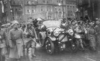 Die erste Fahrt auf tschechoslowakischem Boden absolvierte der Staatspräsident am 21. Dezember 1918 mit dem Laurin & Klement der Reihe M aus dem Werk in Mladá Boleslav. Bild: SMB Fotograf: Skoda Auto Deutschland GmbH
