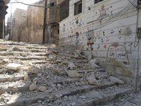 Eine durch Bomben beschädigte Schule in Aleppo im Nordwesten Syriens