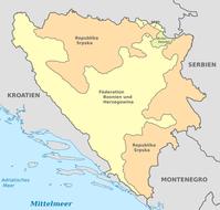 Entitäten von Bosnien und Herzegowina: Republika Srpska, Föderation Bosnien und Herzegowina und Brčko-Distrikt.