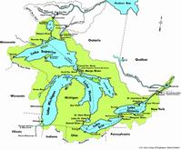 Karte der Großen Seen und deren Einzugsgebiet (grün)
