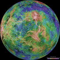 Falschfarbenbild der Venus: Sah die Erde vor Beginn der Plattentektonik ähnlich aus? Quelle: NASA/JPL (idw)