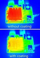 Aufwärmung ohne (oben) und mit MOF-Beschichtung.