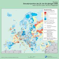 Geschlechterverhältnis der 25- bis 29-Jährigen 2008 in Europa Quelle: Karte: IfL 2011 (idw)