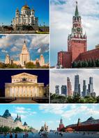 Im Uhrzeigersinn: Erlöserturm des Kremls, Moskau City, Roter Platz, Bolschoi-Theater, Lomonossow-Universität, Christ-Erlöser-Kathedrale (Symbolbild)
