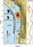 Karte der südamerikanischen Pazifikküste, Nord–Chile/Süd-Peru.