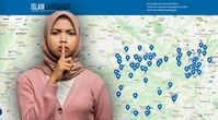 Bild: Screenshot: islam-landkarte.at; Symbolbild Muslima: Freepik; Komposition: Wochenblick/ Eigenes Werk