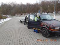 Das überprüfte Fahrzeug mit Anhänger
