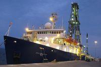 Die JOIDES Resolution im Hafen von Puntarenas. Quelle: Foto: S. Kutterolf, GEOMAR (idw)
