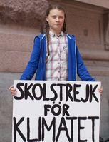 Greta Thunberg vor dem schwedischen Parlamentsgebäude in Stockholm, August 2018