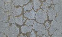 Von der Alkali-Kieselsäure-Reaktion gezeichnete Oberfläche eines Betonpfeilers (Betonkrebs)