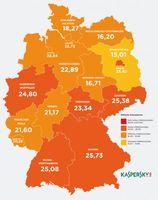"""Kaspersky-Heatmap: Cyberbedrohungslage nach Bundesländern. Bild: """"obs/Kaspersky Labs GmbH"""""""