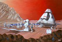 Künstlerische Sicht einer bemannten Mission zum MarsGemälde von Les Bossinas (Lewis Research Center), NASA