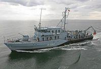 Das Minenjagdboot SULZBACH-ROSENBERg während einer Übung in der Kieler Bucht. Bild: Deutsche Marine