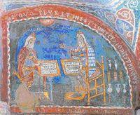 Ein italienisches Fresko (13. Jh.) zeigt Hippokrates und Galen im Gespräch, obwohl sie 500 Jahre trennen