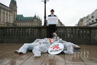 VIER PFOTEN protestiert gegen Tierversuche, hier 2012 in Hamburg. Bild: © VIER PFOTEN