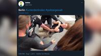 Twitter Screenshot aus dem Video zum brutalen Vorgehen der Polizei in Berlin am 1. August 2021.