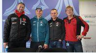 vl. Biathlonbundestrainer: Mark Kirchner, Biathlet: Erik Lesser, Biathlonbundestrainer Gerald Hönig, Fotojournalist ExtremNews Karl Koch Bild: Eva Riedemann - ExtremNews