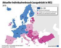 """Aktueller Individualverbrauch (ausgedrückt in KKS), 2019  Bild: """"obs/EUROSTAT"""""""