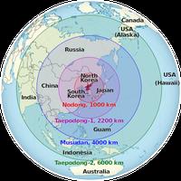 Geschätzte Reichweite nordkoreanischer Raketen