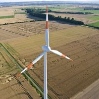 Windkraftanlage aus der Vogelperspektive