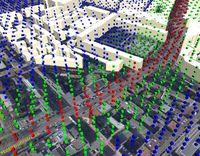 Rote, blaue und grüne Würfel kennzeichnen die Lärmbelastung. Quelle: © Fraunhofer IAO (idw)