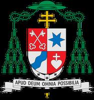 """Erzbischofswappen von Stefan Heße; Wahlspruch: Apud Deum omnia possibilia (""""Bei Gott ist alles möglich"""", Mt 19,26EU)."""