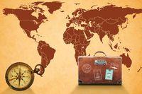 Weltkarte Kompass Koffer - Auswandern
