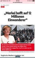 Nach ausländischen Medien (u.a. Österreich) wünscht sich Angela Merkel mindestens 12 Millionen Einwanderer in Deutschland (Symbolbild)