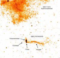 IGR J11014-6103 im Röntgenlicht, aufgenommen mit dem  Chandra-Satellitenteleskop Quelle: Abbildung: ISDC/L. Pavan, Astronomy&Astrophysics 2014, 562, A122 (idw)
