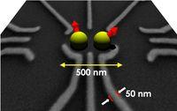Zwei Elektronen in einer Galliumarsenid-Nanostruktur für Quantencomputing Quelle: Grafik: Universität Basel (idw)