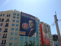 """An election campaign poster featuring Erdoğan: """"Istanbul is Ready, Target 2023"""", Taksim Square, Istanbul."""