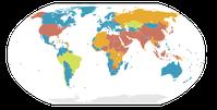 Status der Todesstrafe in allen Staaten: (blau) vollständig abgeschafft, (grün) nur in Sonderstrafverfahren (z.B. Kriegsrecht), (orange) Hinrichtungsstopp, (braun) angewandt