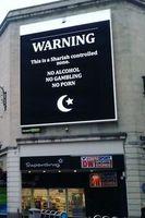 Gehackt: Scharia-Warnung statt Werbung. Bild: /pol/NewsForever, twitter.com