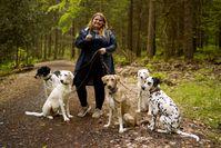 Tiertrainerin Janine Berger mit ihrem Rudel auf einem Spaziergang in Rehburg-Loccum.  Bild: ZDF Fotograf: ZDF/Frederik Klose-Gerlich