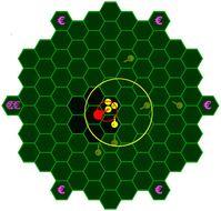 In dem Experiment wurden monetäre Anreize zu Gruppenkohäsion und zielgerichtetem Verhalten gegeben. Die roten und gelben Kreise zeigen verschiedene Streuungsgrade der Spielerpositionen an.