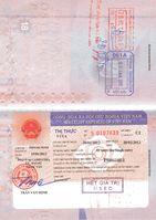 Vietnamesisches Visum, Ein- und Ausreisestempel in einem Österreichischen Pass, 2012