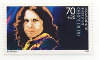 Jim Morrison auf einer Briefmarke der Deutschen Bundespost 1988